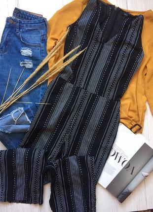 Стильней комбинезон с плотного материала с укорочёнными брюками