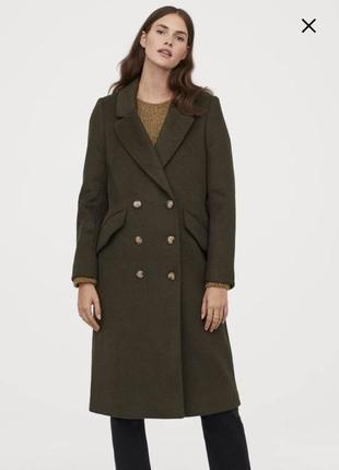 Пальто длинное с шерстью хаки двубортное классическое h&m оригинал