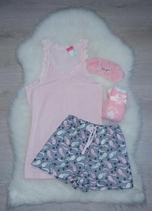 Милая пижамка с кошечками🐈 + плюшевые носочки и маска для сна primark