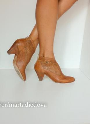 Кожаные ботинки ботильоны полусапожки туфли с перфорацией, бренд nero giardini оригинал