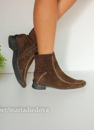 Замшевые кожаные ботинки полусапожки ботильоны, натуральная замша