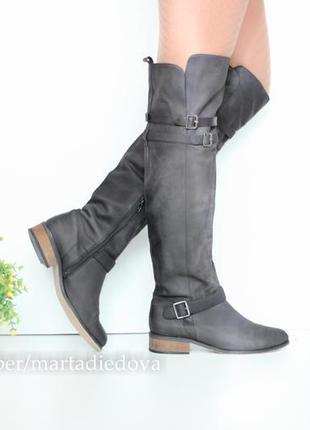 Кожаные ботфорты, сапоги выше колена, натуральная кожа нубук, бренд next