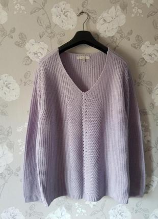 Базовый свитер,теплый вязаный свитер,нежный лиловый свитер,сиреневый свитер,кофта