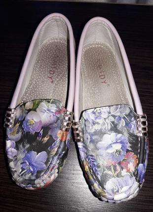 Туфельки мокасины балетки с цветами