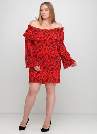 Красное повседневное платье плиссе, с открытыми плечами missguided с абстрактным узором