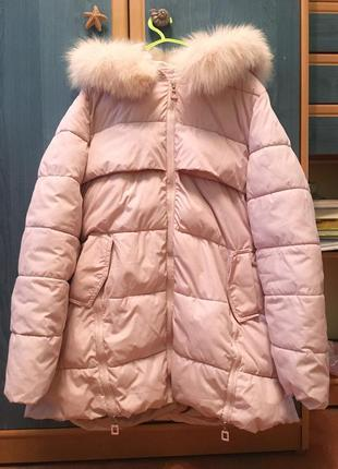 Осенняя демисезон куртка/пуховик розового пудрового цвета. болоньевая, светлая.