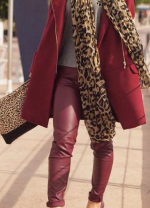 Кожаные лосины марсалового цвета!