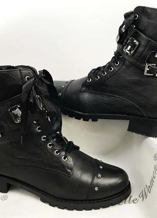 Ботинки ботильоны женские чёрные на шнурках на замке кожаные с флисовой подкладкой