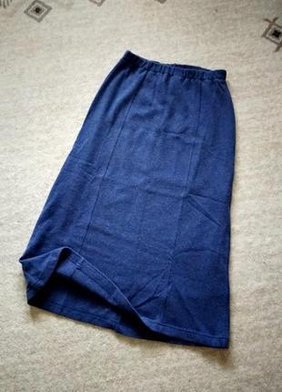 40-42р. шерстяная трикотажная длинная юбка на резинке emak