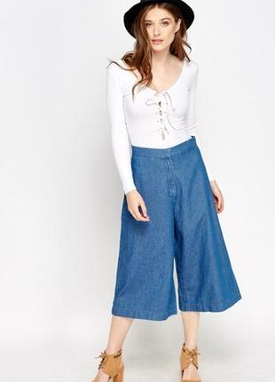 Джинсовые кюлоты-юбка-брюки! очень модные! размер s-м (германия)