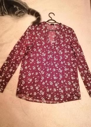 Шифоновая блузка с рукавом