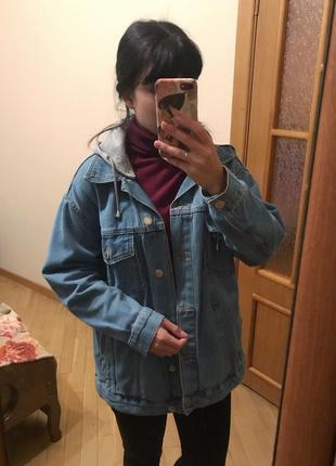 Джинсовая куртка джинсовка бойфренд оверсайз oversize bershka
