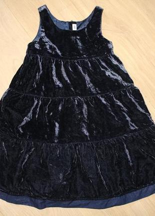 Модное велюровое, бархатное платье h&m на 4-6 лет