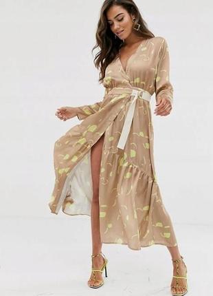 Asos элегантное платье на запах с принтом доставка сутки