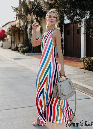 Макси платье сарафан в полоску свободного кроя