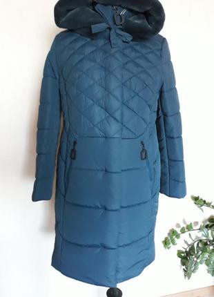 Зимнее женское длинное пальто стеганое есть большие размеры