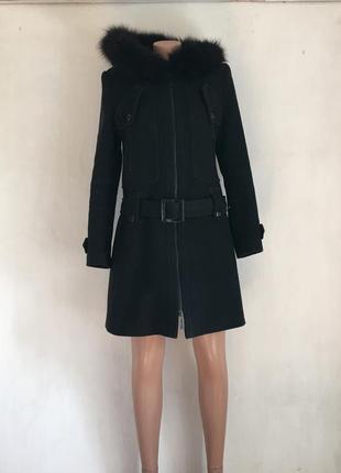 Пальто черное с  мехом/ производство украина