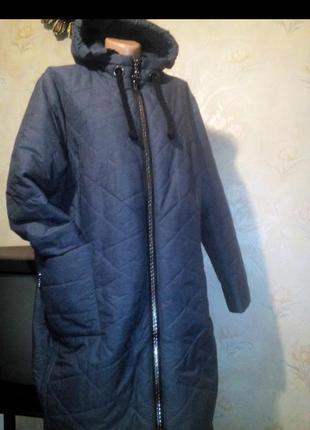 Р.60 красивая стильная куртка цвет джинс большой размер