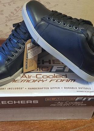 Кожаные кеды кроссовки туфли skechers vol fandom.