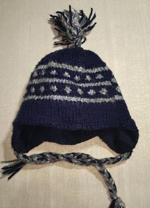 Детская шапка с ушками на завязках