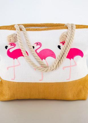 Сумка белая пляжная фламинго розовые