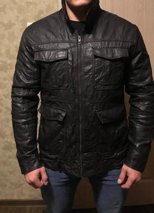 Куртка кожаная с эффектом помятости