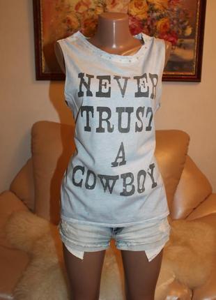 Never trust a cowboy хлопковая майка футболка s forever 21