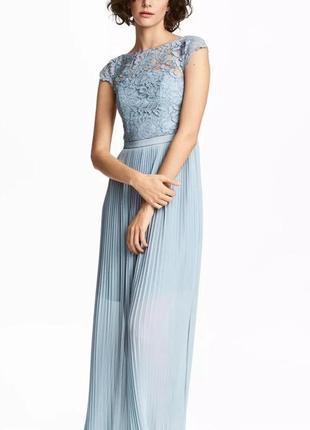 Шикарное вечернее длинное платье с кружевом кружевное нарядное плиссе подружки на свадьбу