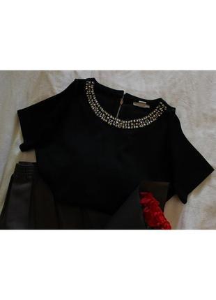 Черный плотный топ футболка с камнями h&m