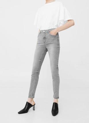Серые джинсы скинни от mango 36\s крутые брюки
