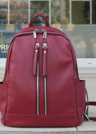 Оригинал италия женский городской рюкзак из натуральная кожи бордо