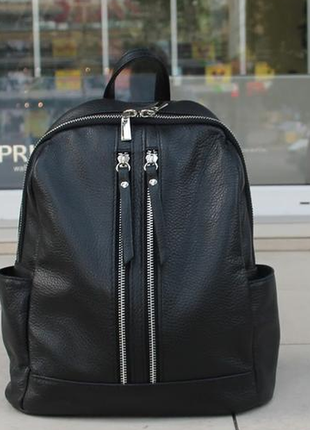 Оригинал италия женский городской рюкзак из натуральная черной кожи