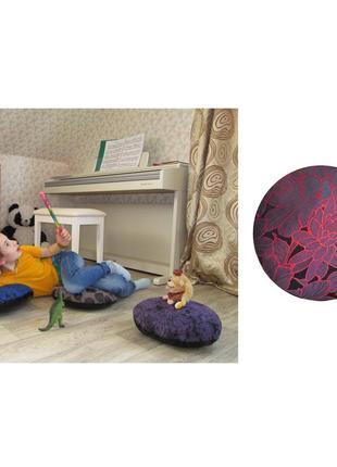 Пуф подушка детская для сидения на полу пуфик жаккард красный