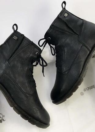 Ботинки женские кожаные на шнурках с замком флисовая подкладка ботильоны берцы