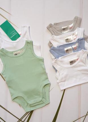 Набір бодіков hm на новороджених малюків (0-1 міс) 💰 360 грн/набір 👌 65 грн/шт #petite_0_2