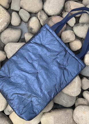 Эко сумка шоппер торба @don.bacon синяя стёганая блестящая бумага