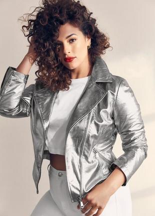 Новая косуха ashley gram x marina rinaldi куртка кожа серебро