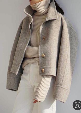 Шерстяное кашемировое укороченное пальто куртка шерстяная кашемировая вовняне вкорочене