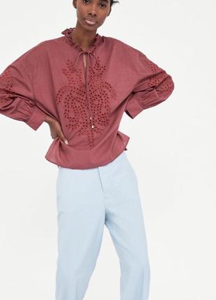 Хлопковая рубашка с вышивкой zara