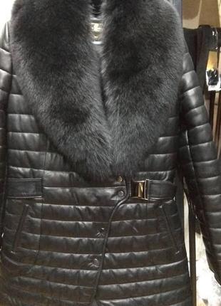 Курточка натуральная кожа овчина турция лайка песец