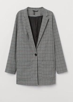 Удлиненный трендовый жакет пиджак в мужском стиле,в клетку