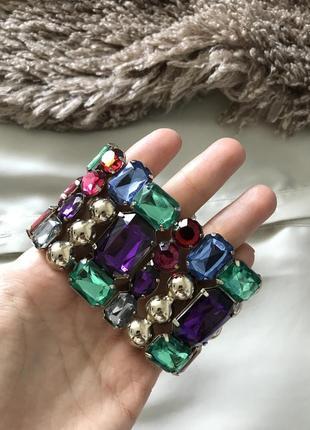 Широкий браслет с крупными камнями h&m