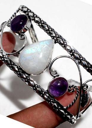 Элегантный браслет-манжет. лунный камень - адуляр+аметист 925пр