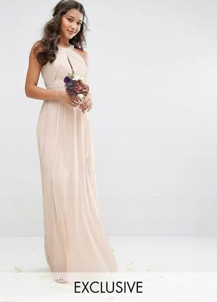 Tfnc неймовірна вечірня пудрова нюдова сукня-плісе