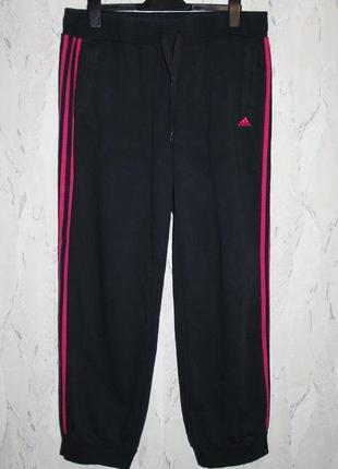 Фирменные спортивные байковые брюки adidas climalite, р. l