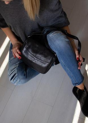 Кожаная сумка цвет черный турция в наличии
