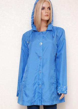 Нежно голубая куртка anne de lancay /l/ветровка с капюшоном плащ парка тренч