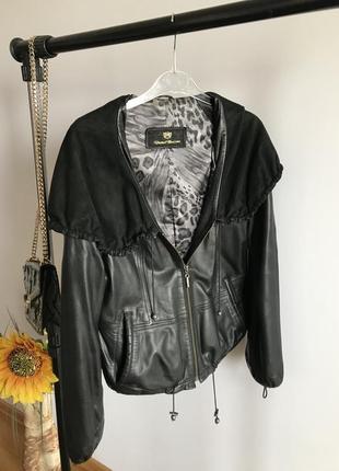 Lux кожаная куртка {косуха} с объемным капюшоном