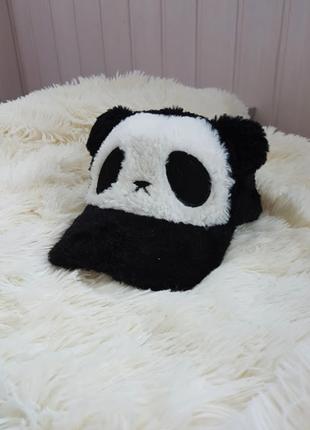 Теплая кепка с мехом бейсболка шапка панда для девочки или мальчика