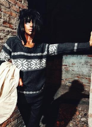 Джемпер вязаный в снежинки узор свитер flashlights